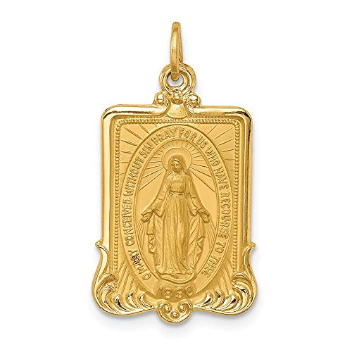 (14k Yellow Gold Solid Large Rectangle Framed Miraculous Medal Pendant Charm Necklace Religious Fine Jewelry Gifts For Women For)