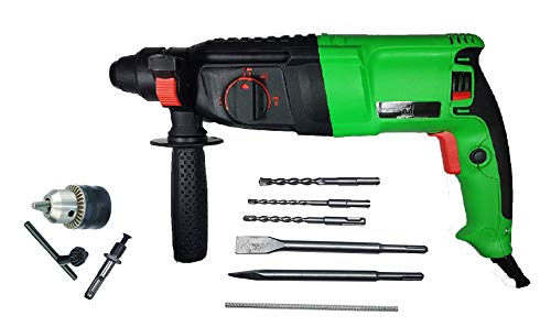 Inditrust 900W 26mm 2-26 RE Reversible Rotary Hammer Drill machine SDS Plus with 3 Modes 3 Hammers Bits 2 Chisels (Blue, green)