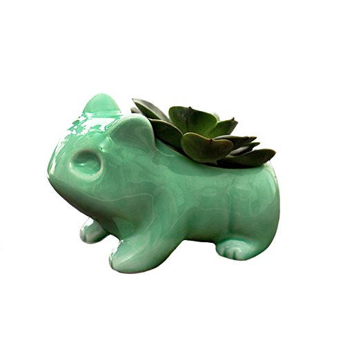 YOURNELO Pokemon Bulbasaur Flowerpot Anime Japanese Nintendo Game Cute Home Decorative Ceramic Art Pots (Green)