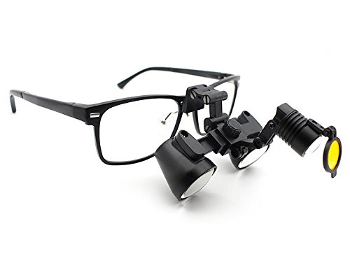 2.5x Flip Up Loupes and LED Headlight Combo -- Featured on ''Bones'' -- Dental Surgical Medical Binocular Loupes -- Black Titanium Frame by Schultz Loupes