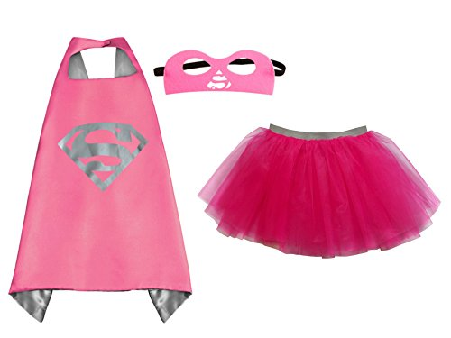 So Sydney Superhero TUTU, CAPE & MASK Adult Teen Plus Complete Halloween Costume (L (Adult Size), Supergirl Hot Pink) (Hot Male Superhero Costumes)