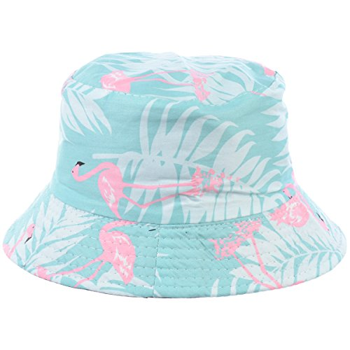 BYOS Fashion Packable Reversible Black Printed Fisherman Bucket Sun Hat, Many Patterns (Flamingo Pastel Mint) by Be Your Own Style