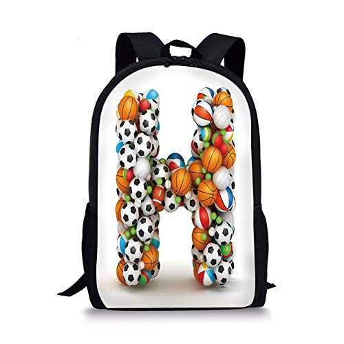 School Bags Letter H,Letter H Stacked from Gaming Balls Alphabet of Sports Theme Competition Activity Decorative,Multicolor for Boys&Girls Mens Sport Daypack ()