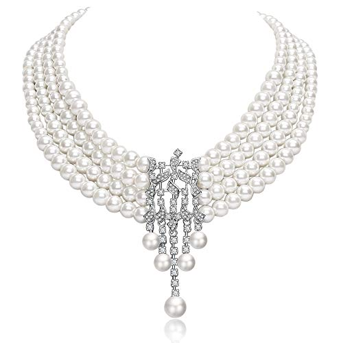 Coucoland Audrey Hepburn Inspired Pearl Necklace Inspired by Breakfast at Tiffany's 1920s Gatsby Imitation Pearls Necklace with Crystal Brooch Bridal Pearl Jewelry Sets (White 6)