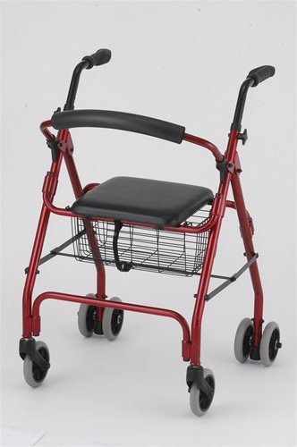 Down Brake Push Rollator (Rollator - Burgundy Prime Rollator with Push Down Brake # Lightweight aluminum frame # Handles are adjustable for different heights # Removable front basket # 5