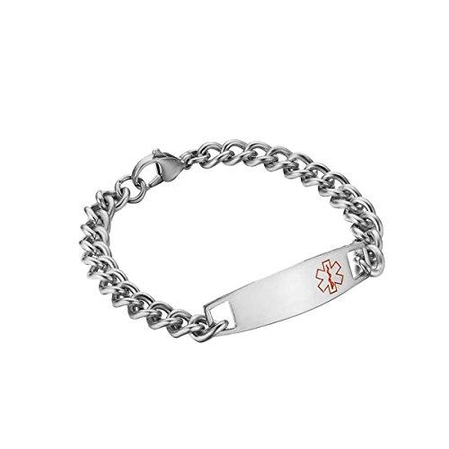 Engravable Id Bracelet (Free Engraving - Stainless Steel Medical Alert ID Bracelet for Women,Silver,8.5