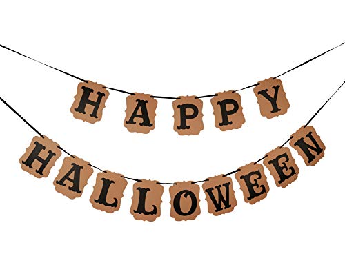 Happy Halloween Hair (Zotemo Black Happy Halloween Bunting Banner Hanging Garland for Halloween Themed Home and Party)