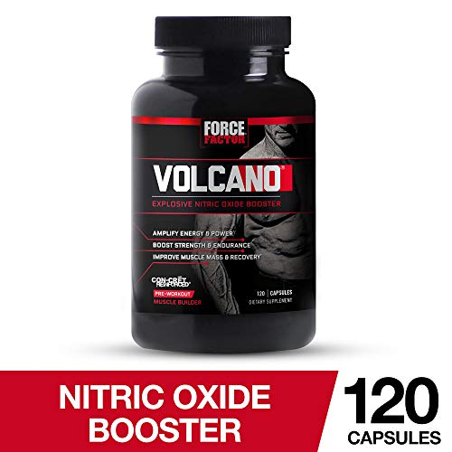 Volcano Pre-Workout Nitric Oxide Booster with Creatine, Boost Nitric Oxide, Energy, and Strength, Build Muscle, Better Pump, Force Factor, 120 Count (Best Creatine Nitric Oxide Supplement)