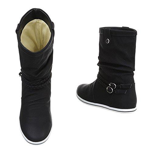Ital-Design Klassische Stiefel Damenschuhe Klassischer Stiefel Moderne Stiefel Schwarz ZY3777