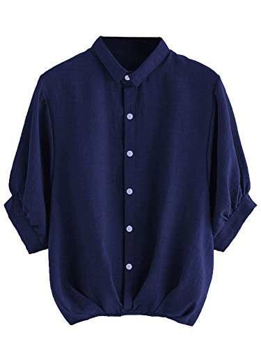 - Milumia Women's Lantern Sleeve Pleated Button Down Work Blouse Shirt Navy
