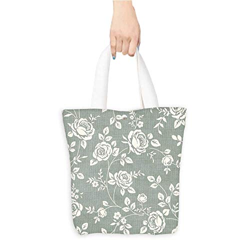 Eco-Friendly Canvas bags monochrome roses vintage backgroun bloom roses wallpaper Easy to all-match W16.5 x H14 x D7 INCH ()