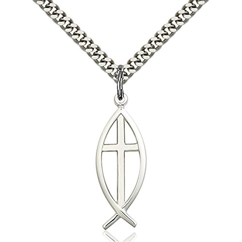 Sterling Silver Fish / Cross Pendant 1 x 3/8 inches with Heavy Curb Chain - Medal Fish