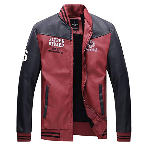 Price comparison product image Allywit-Mens Faux Leather Jacket Casual Long Sleeve Stand Collar Baseball Lightweight Coat Red