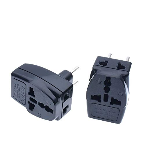 Universal to Europlug EU Travel Adapter 3 Way Multi Outlet Black Color Type E F G
