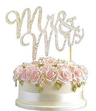 Rose Gold Gold Diamante Rhinestone Cake Topper Happy Birthday Wedding Silver