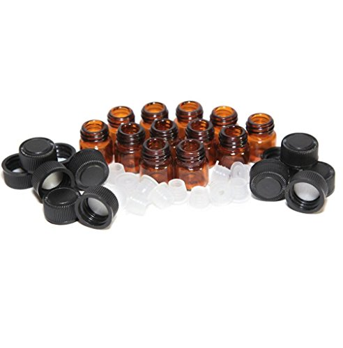 greatfun 12pcs portátiles 1ml Ámbar Botella de aceite esencial con reductor de orificio Tapa