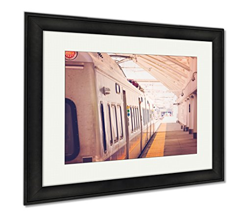 Ashley Framed Prints Commuter Train From Denver Union Station, Modern Room Accent Piece, Color, 34x40 (frame size), Black Frame, - Station Union Denver Shops