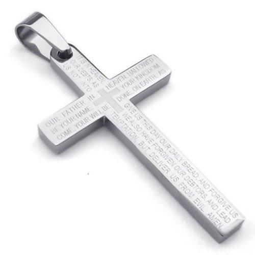 KONOV Stainless Prayer Pendant Necklace