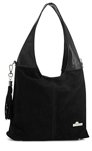Agnes by ''LiaTalia'' Womens Girls Genuine Italian Suede and Soft Leather Hobo Shopper Shoulder Tote Handbag [Black - Black Trim] by LiaTalia Vera Pelle Made In Italy