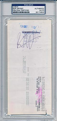 Ron Artest Autographed Signed Rookie Year Fleer/Skybox Check Bulls Slabbed PSA/DNA Authentic