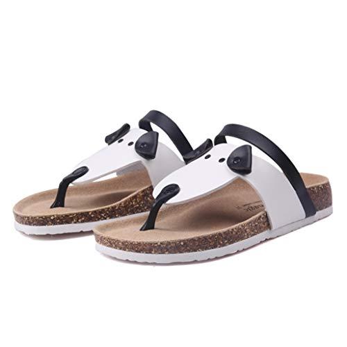 (MEIZOKEN Womens Flats Flip Flops Cartoon Puppy Cork Slippers Beach Casual Patchwork Driving Sandals White)