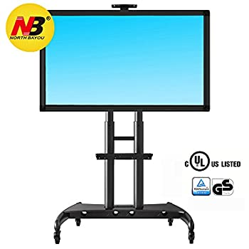 Image of Home and Kitchen NB North Bayou Mobile TV Cart TV Stand with Wheels for 55' - 80' Inch LCD LED OLED Plasma Flat Panel Screens up to 200lbs AVA1800-70-1P (Black)