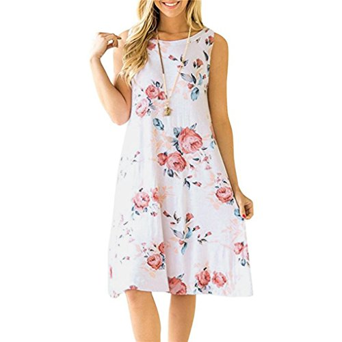 STRIR-Ropa Vestido para Mujer,STRIR Vintage Boho Mujer Verano sin Mangas Beach Printed Mini Vestido Corto