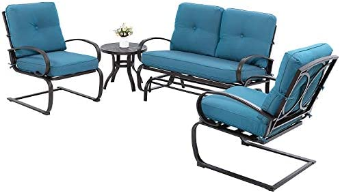Walsunny 4Pcs Outdoor Patio Furniture Conversation Sets Glider Loveseat,Coffee Table,2 Spring Chairs ,Wrought Iron Frame Chair Set