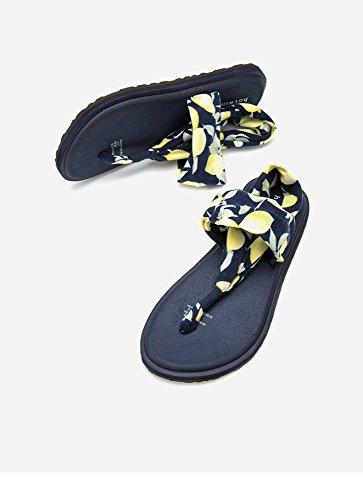 alla moda Sandali DHG alti da tacco Blu a basso 39 estivi casual Sandali Tacchi basso piatti tacco Sandali con donna Pantofole rUXYqBXn