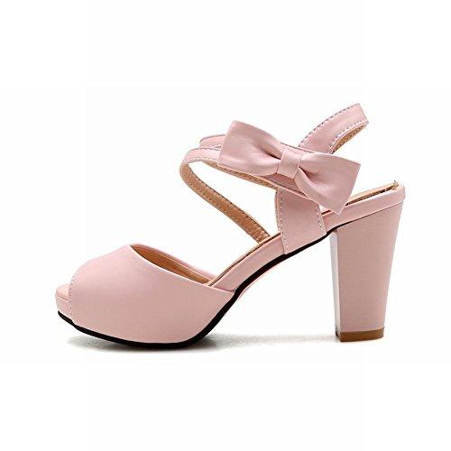 Mee Shoes Damen Chunky Heels Peep Toe Klettverschluss Sandalen