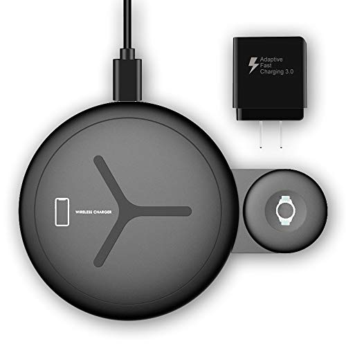 LDFAS Wireless Charger Dou Pad, 2 in 1 Dual Qi Enabled 10W Fast Wireless Charging Stand/Dock Compatible for Samsung Galaxy Watch 42mm/46mm/Active,Galaxy Buds, Gear S3/Sport, S10/S9 +/S8 +/Note 9