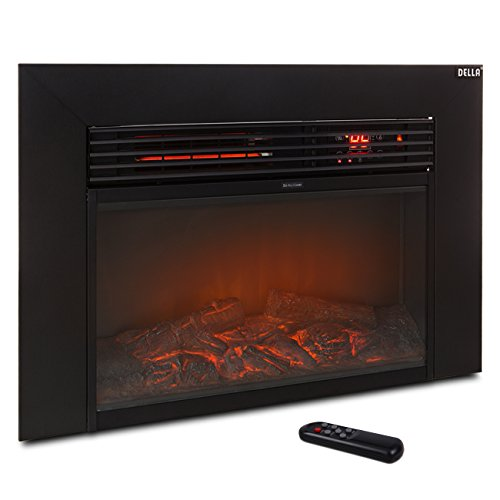 Della 1500w Embedded Fireplace Electric Insert Heater Glass View Adjustable Log Flame w/ Remote Control Della Infrared Heaters