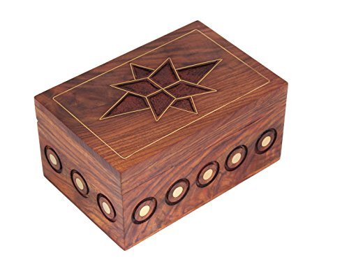 Store Indya Handcrafted Fine Polished Wooden Keepsake Box Jewelry Trinket Organizer - Multipurpose with Celtic Pattern Floral Design Jewelry Armoire