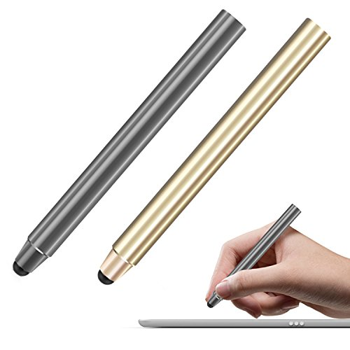 Price comparison product image MoKo Rubber Tip Stylus(2 Pack), Universal 8mm High-precision Sensitivity Point Capacitive Pen, for Touch Screen Devices Smartphones & Tablets(iPad, iPhone X/8/8 Plus, Samsung etc.) - Space Gray & Gold