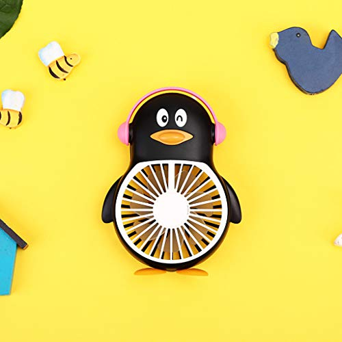 Karooch Multifunction Penguin Shape Desktop Fan with LED Nightlight Lamp Portable Mini USB Charging Cooling Electric Fan for Home Office Bedroom Student Dormitory