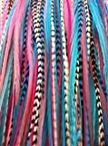 Gorgeous Pinks, Blues & Grizzly Remix 4'-18cm Feathers for Hair Extension Includes 2 Silicone Micro Beads and 5 Feathers
