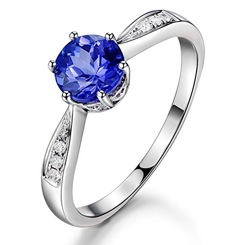 Promise Gemstone Tanzanite (1.15ct) Diamond 14K White Gold Women Ring for Wedding Engagement Set For Women ()