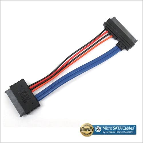 6 Inches Micro SATA 16 Pin Female to 22 Pin SATA III Angled Female Cable