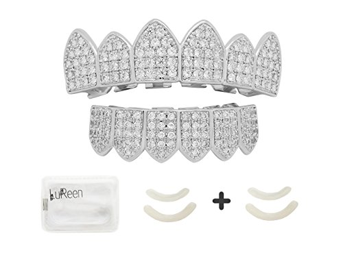 Lureen 14k Gold Plated Rainbow Color Iced Out CZ Vampire Fangs Grillz Set + 2 EXTRA Molding Bars (Silver Set) -