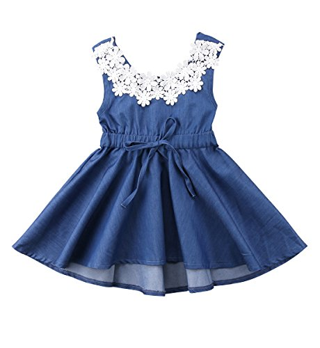 Urkutoba Baby Kid Girls Denim Dress Summer Ruffle Sleeveless Dress with Waistband& Lace Flower Applique (Denim Blue, 4-5 Years)