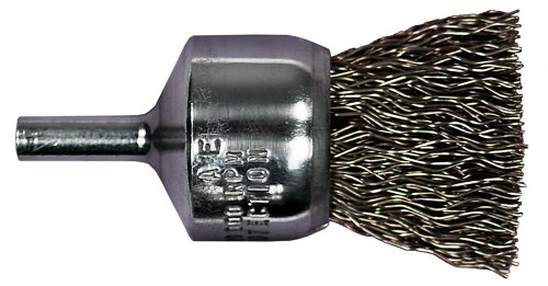 Carbon Crimped Wire - PFERD 82962 Power Stem Mounted Crimped Wire End Brush, Round Shank, Carbon Steel Bristles, 1/2