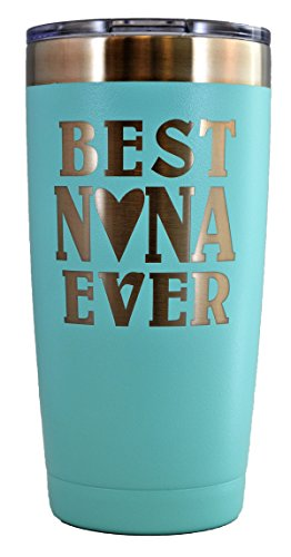 NANA GIFT – Engraved BEST NANA EVER Stainless Steel Tumbler 20 oz Premium Quality Vacuum Insulated Large Travel Coffee Mug Hot & Cold Drinks Grandma Mother's Day Christmas Birthday (Pastel Teal) (Nana Gift)