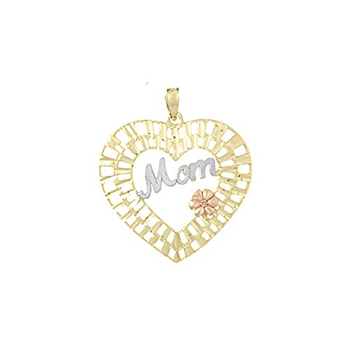 Diamond Cut Mom Heart - 14k Tri-Color Gold Talking Charm Pendant, Mom with Pink Flower In Diamond-Cut Heart, Cut-Out
