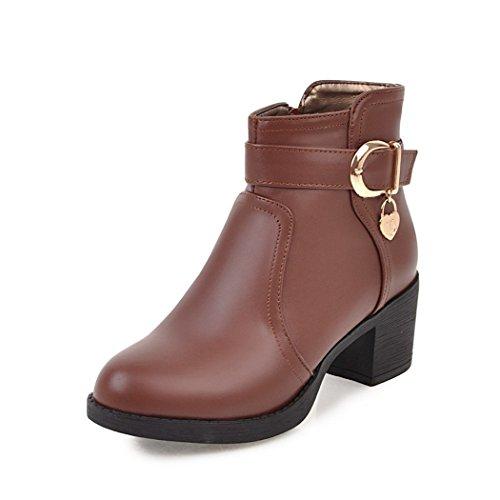 ZQ@QX Otoño e Invierno gruesa cabeza redonda con la hebilla con el lado salvaje de zipper estudiantes botas botas mujer desnuda brown