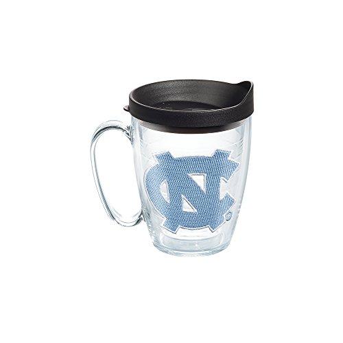 Tervis 1056773 North Carolina Tar Heels Logo Tumbler with Emblem and Black Lid 16oz Mug, Clear Carolina University Mug