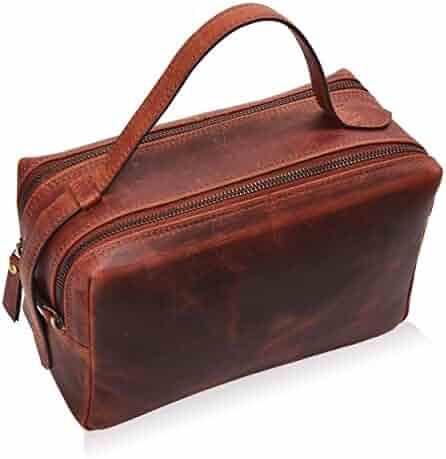 Leather Toiletry Bag for Men - Mens Dopp Kit Bathroom Shaving Bags Travel Case Hanging Hygeine Men's Toiletries (Brown Crazy Horse Modern)