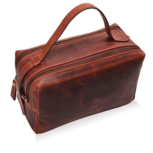 Leather Toiletry Bag for Men - Mens Dopp Kit Bathroom Shaving Bags Travel Case Hanging Hygeine Men's Toiletries (Brown Crazy Horse Modern) (Leather Compartment Pouch)