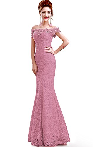 MisShow Women Off Shoulder Lace Long Mermaid Prom Evening Gowns Dark Pink US8