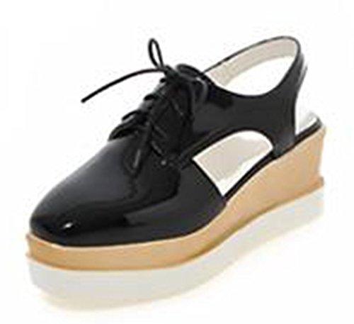 Easemax Kvinna Elegant Slingback Snörning Sandaler Med Plattform Svart