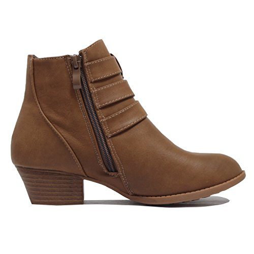 Side Comfortable Chunky Boot Womens Guilty Heart Zipper Buckle Heel Toe Booties Khakiv5 Low Pu Closed Ankle wUazxU